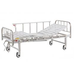 LIT D'HOSPITALISATION AVEC RELEVE BUSTE ET JAMBE + BARRIERE + ROUES, INOX